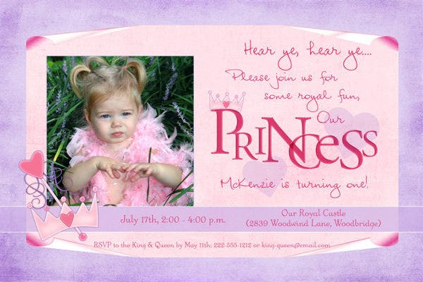 Princess Theme Party Invitation