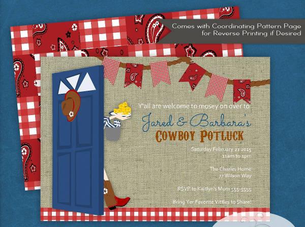 -BBQ Potluck Event Invitation