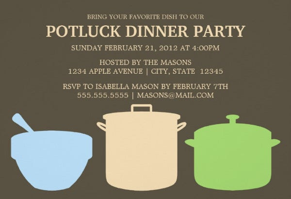 potluck dinner event invitation