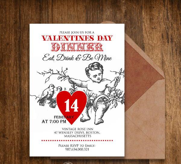 valentine dinner invitation card