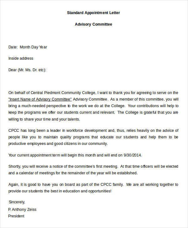 Sample Letter for Appointment to an Advisory Committee