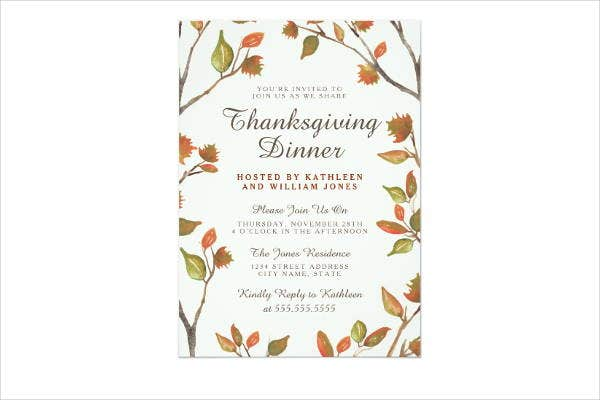 thanksgiving dinner invitation card