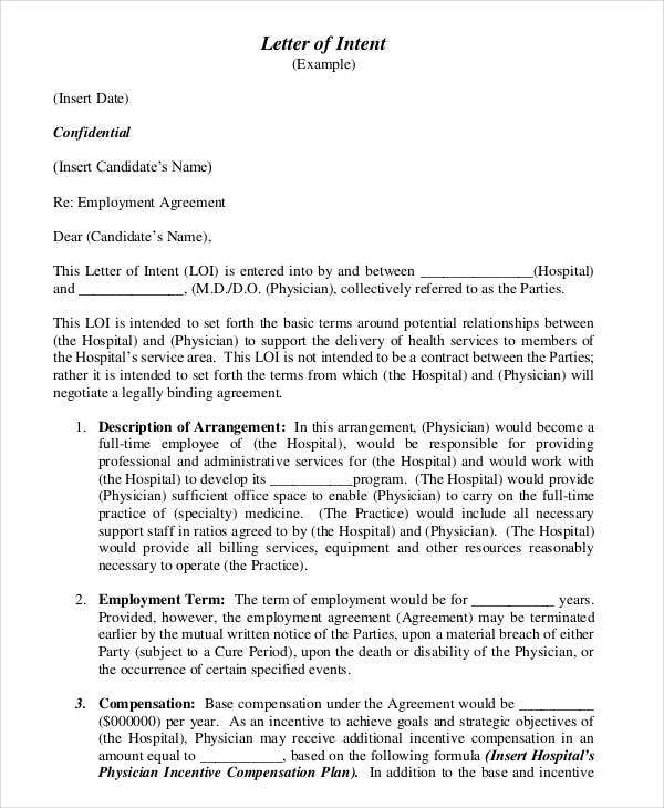 letter of intent for employment template - Letter Of Intent For Employment Template