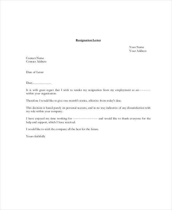 Best Resignation Letter Examples - The Balance Careers