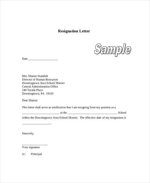 resignation letter in school pdf