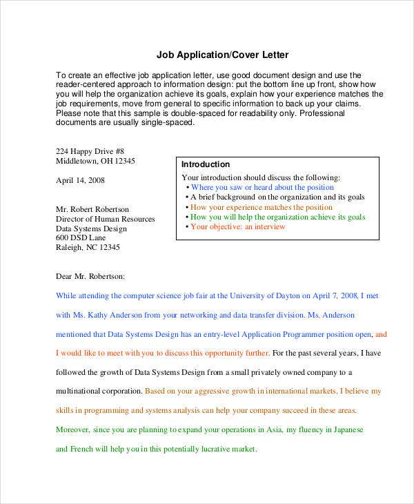 Job Application Cover Letter In PDF