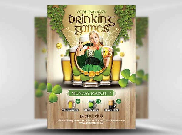 saint patricks day games flyer