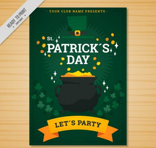 gold pot st patricks day flyer