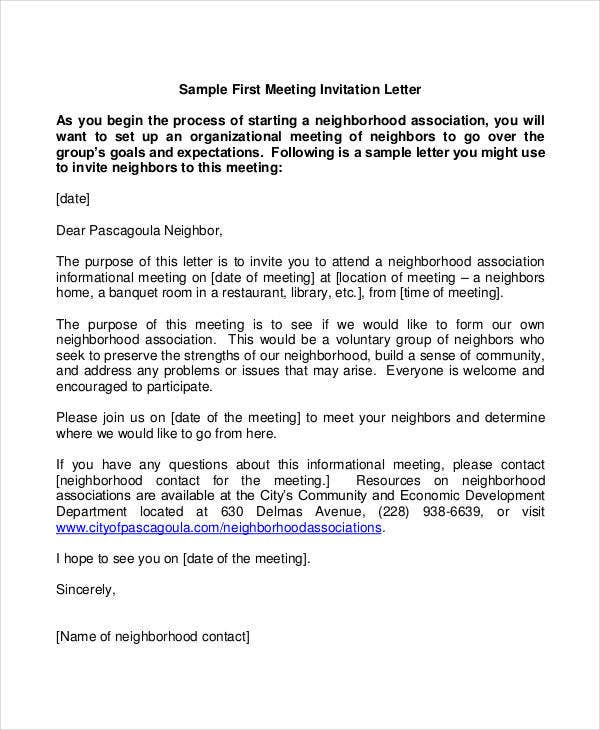 formal meeting invitation letter template
