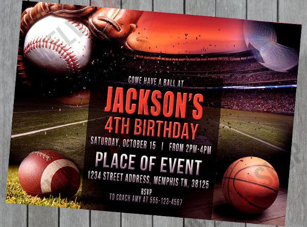 sports party event invitation