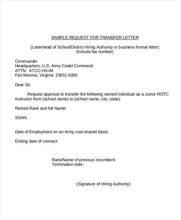 formal request for transfer letter template