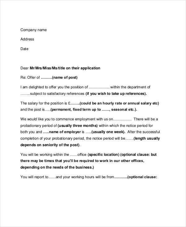 job offer letter format in pdf