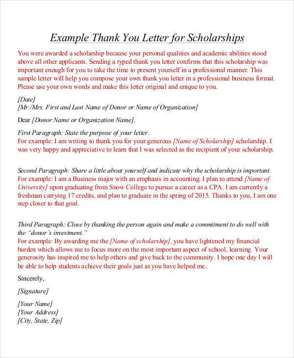 formal thank you letter template for scholarship