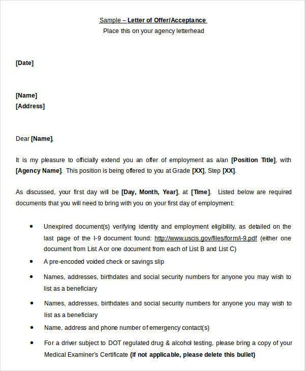 Job Offer Acceptance Letter Template
