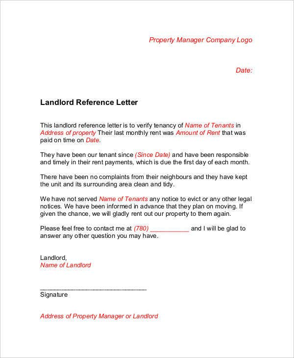 landlord reference letter in pdf template