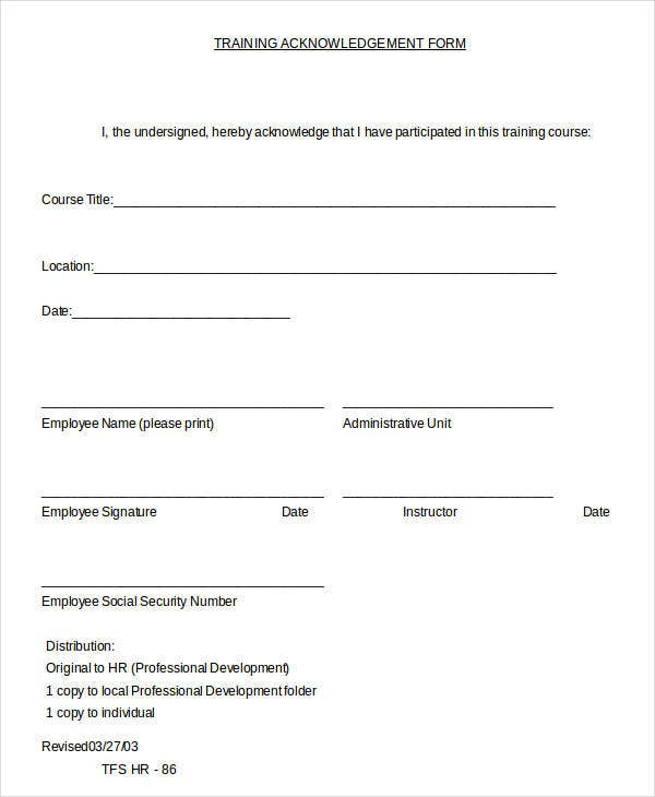Training Acknowledgment Form