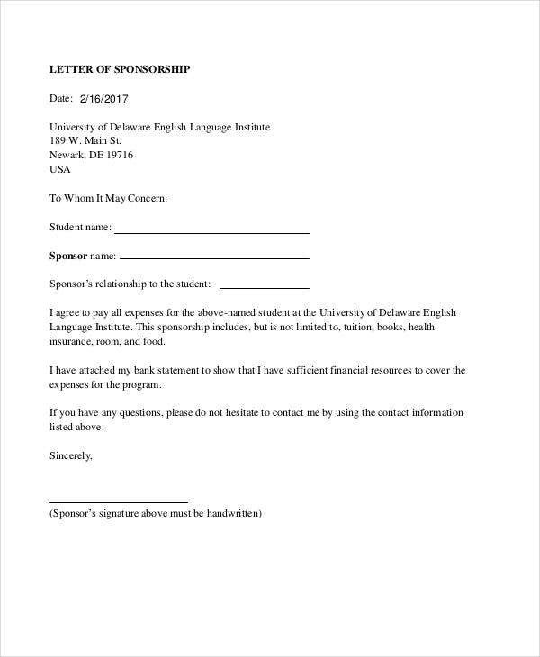 letter of sponsorship for student pdf