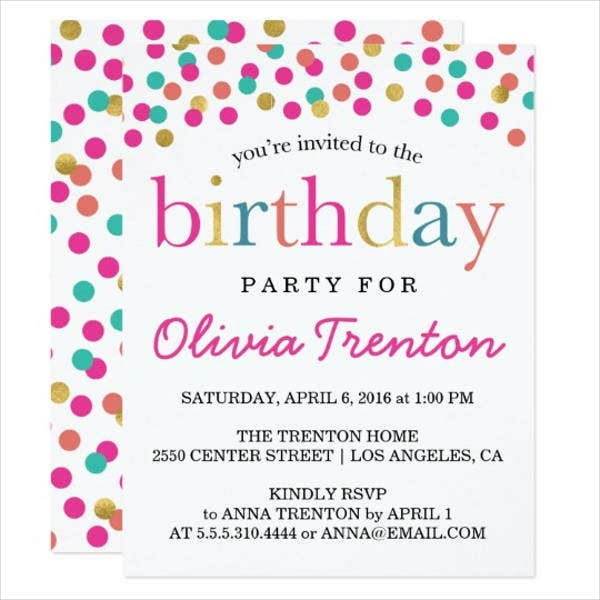 free colorful birthday invitation