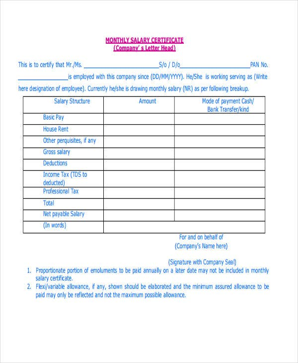 Certificate Letter Templates 9 Free Sample Example Format – Salary Certificate Format Download