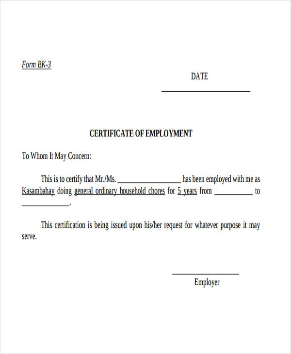 Employment Certificate Template Proof Of Employment