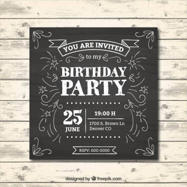 free chalkboard birthday invitation
