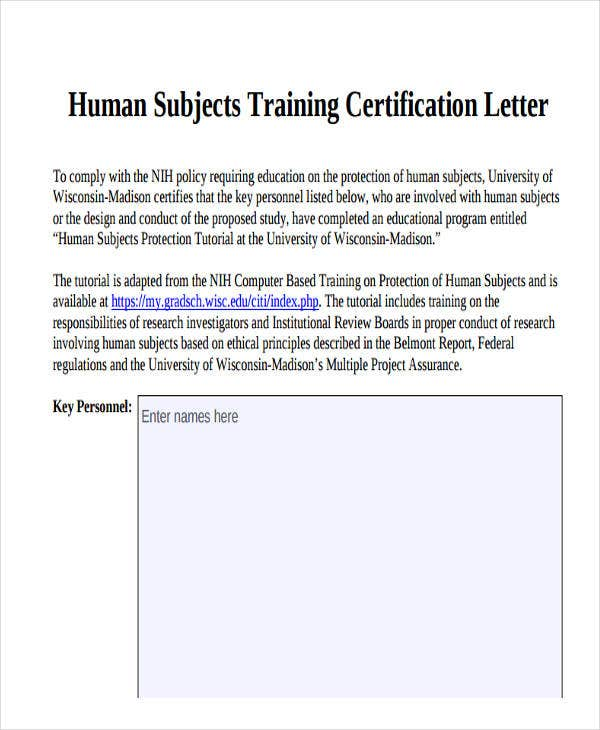 training certificate letter template