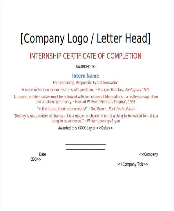 Certificate Letter Template