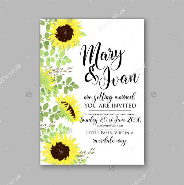 Sunflower Rustic Wedding Invitations