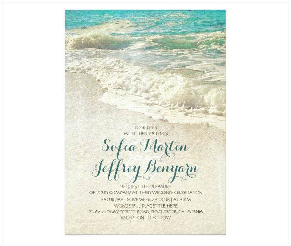 Vintage Beach Wedding Invitations