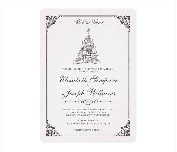 Disney Castle Wedding Invitations