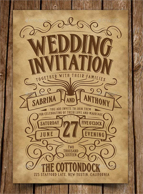 Vintage Rustic Wedding Invitations