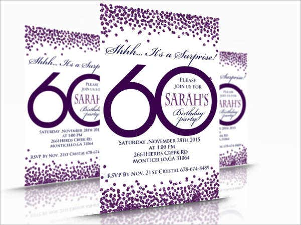 60th birthday invitation psd