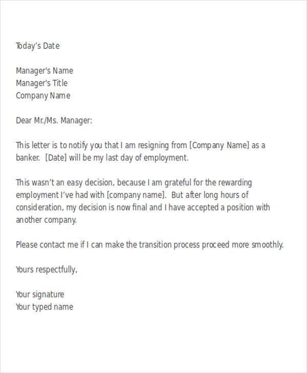 38 Resignation Letter Format – Sample Resignation Letter in Word Format