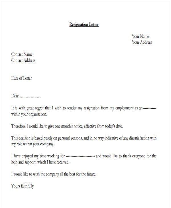 Employee Resignation Letter Temporary Employee Resignation Letter