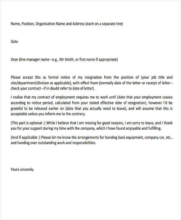 professional resignation letter sample with notice period