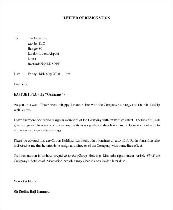 Company Resignation Letter Office Manager Job Resignation Letter