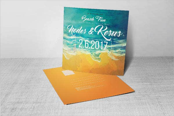 Retro Beach Wedding Invitations