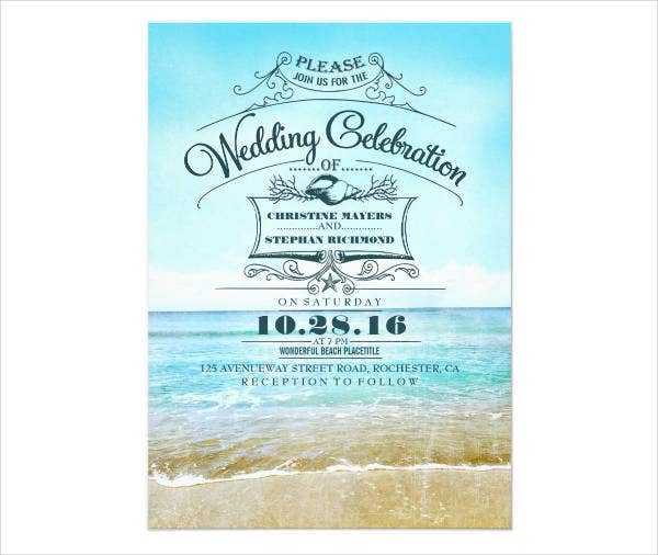 Retro Seaside Wedding Invitations