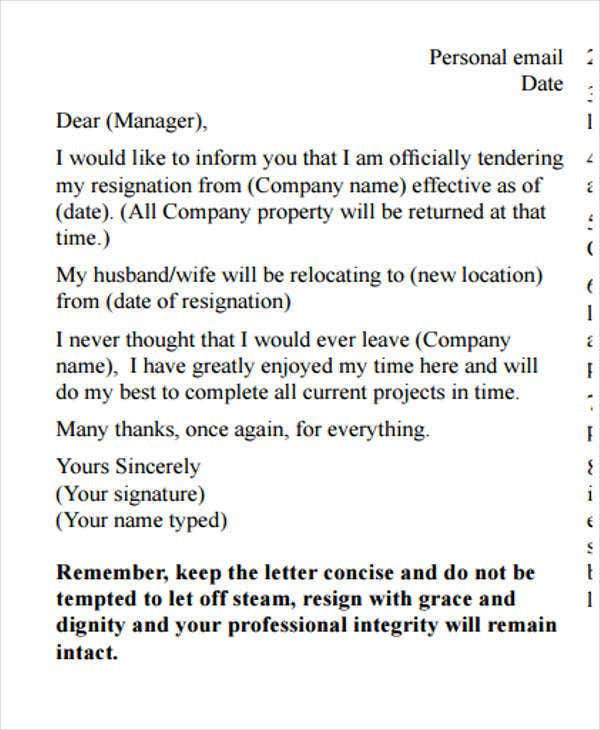 director email resignation letter