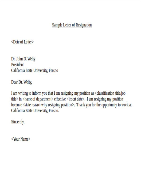 Resignation Letter Sample For Teaching Job