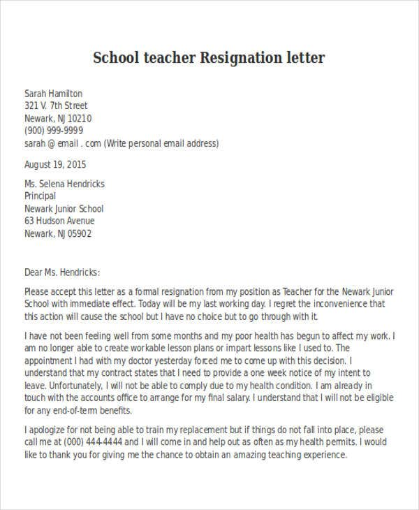 Resignation Letter Sample School Teacher - Gse.Bookbinder.Co
