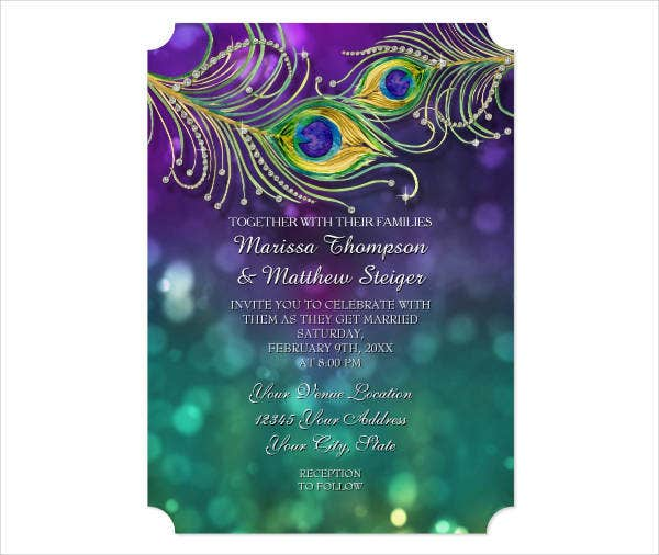 Modern Peacock Wedding Invitations