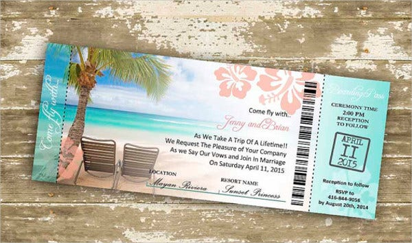 Destination Ticket Wedding Invitations