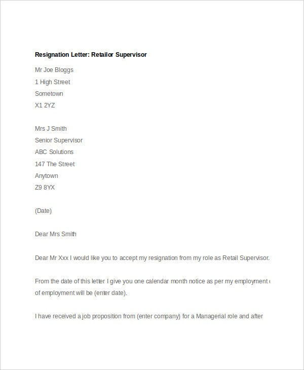 resignation letter for retail supervisor
