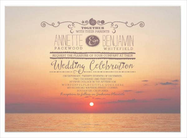 Sunset Beach Wedding Invitations