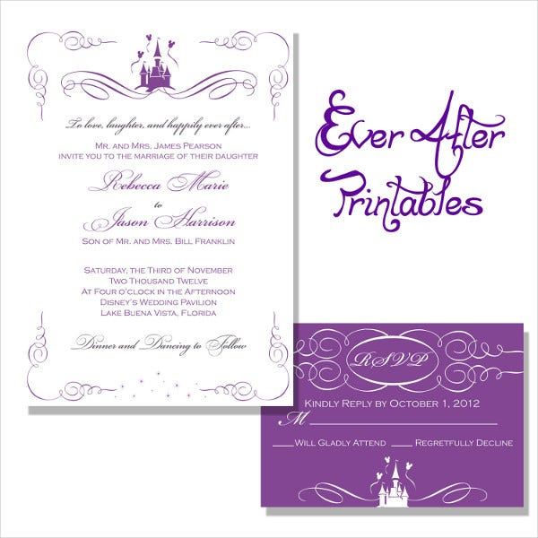 Disney Wedding Invitation: Printable Wedding Invitations