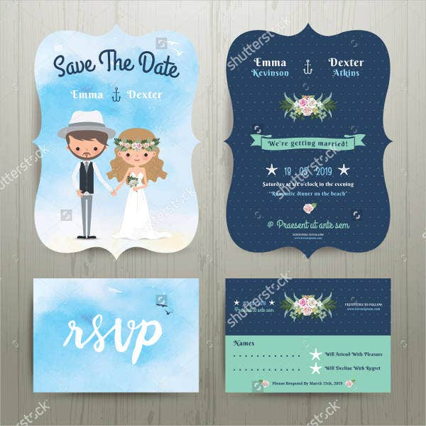 Disney Beach Wedding Invitations