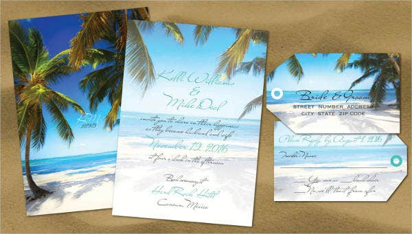 Formal Beach Wedding Invitations