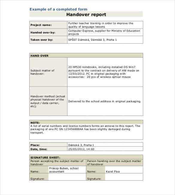 Handover Report Template   Free Word Pdf Documents Download