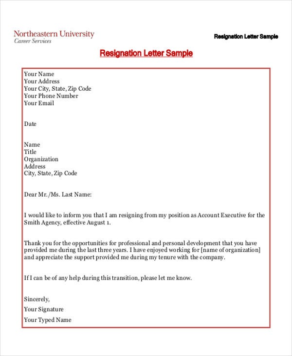 40 resignation letter example free premium templates simple resignation format spiritdancerdesigns Images